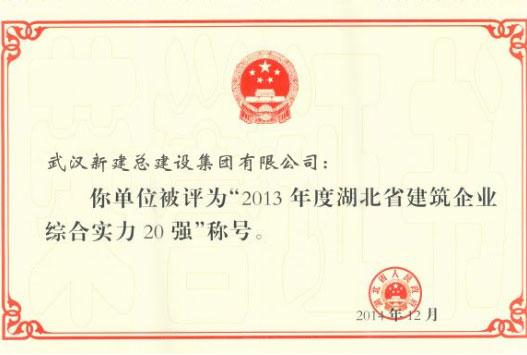 湖北省建筑企业综合实力20强