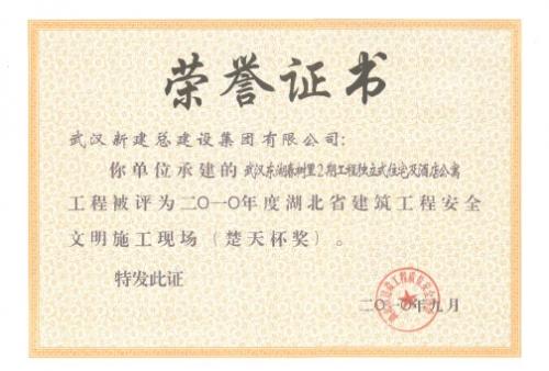 2010年武汉东湖春树里2期工程独立式住宅及酒店公寓安全楚天杯