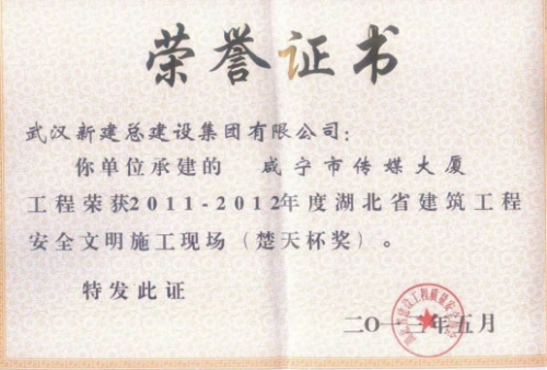 2011-2012年度咸宁市传媒大厦工程安全楚天杯
