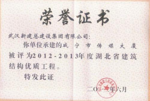 2012-2013年度咸宁市传媒大厦湖北省建筑结构优质工程