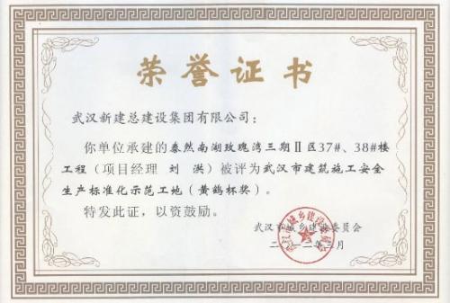 2012年度泰然南湖玫瑰湾三期Ⅱ区37、38楼工程安全黄鹤杯