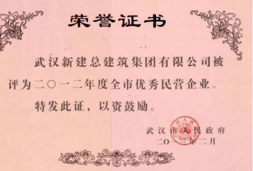 2012年度武汉市优秀民营企业